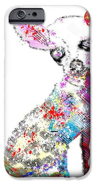 Dog Mixed Media iPhone Cases - Chihuahua Graffiti iPhone Case by Bri Buckley