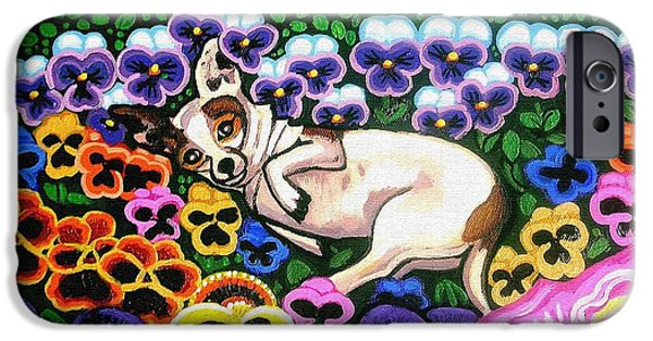 Esson iPhone Cases - Chihuahua In Flowers iPhone Case by Genevieve Esson