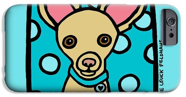 Puppy Digital iPhone Cases - Chihuahua Love iPhone Case by Anne Leuck Feldhaus