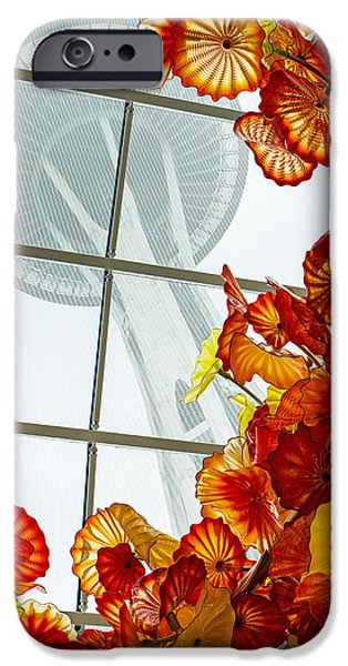 Asymmetrical iPhone Cases - Chihuly Fire Orange Baskets With Seattle Space Needle iPhone Case by Jordan Blackstone
