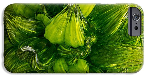 Asymmetrical iPhone Cases - Chihuly Green Glass Chandelier iPhone Case by Jordan Blackstone