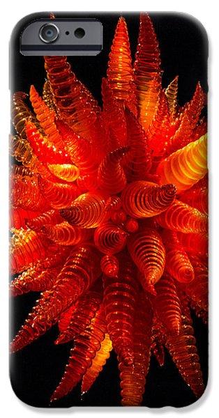 Asymmetrical iPhone Cases - Chihuly Orange Hornet Chandelier II iPhone Case by Jordan Blackstone