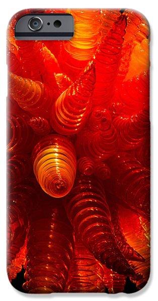 Asymmetrical iPhone Cases - Chihuly Orange Hornet Chandelier iPhone Case by Jordan Blackstone