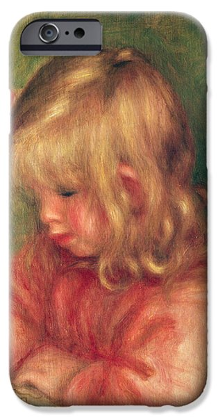 Impressionist Photographs iPhone Cases - Child Drawing, 1905 iPhone Case by Pierre Auguste Renoir
