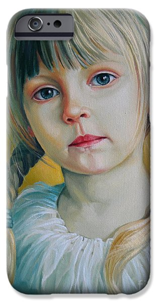 Innocence Paintings iPhone Cases - Child iPhone Case by Elena Oleniuc