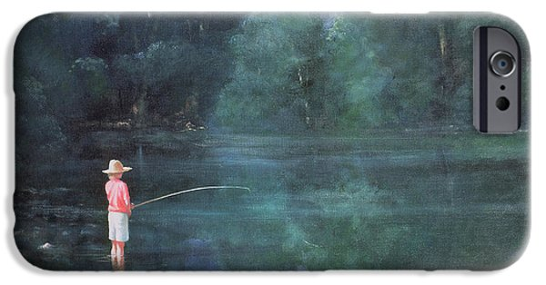 River iPhone Cases - Child Fishing, 1989 iPhone Case by Lincoln Seligman