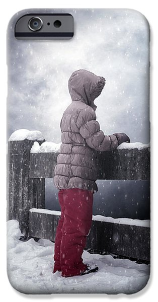 Snow iPhone Cases - Child In Snow iPhone Case by Joana Kruse