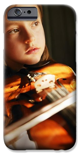Practise iPhone Cases - Child Playing Violin iPhone Case by Con Tanasiuk