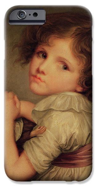 Enfants iPhone Cases - Child With A Doll Oil On Canvas iPhone Case by Anne Genevieve Greuze