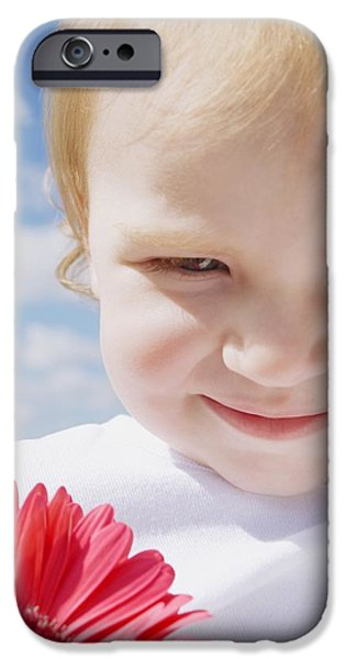 Innocence iPhone Cases - Child With A Flower iPhone Case by Leah Hammond