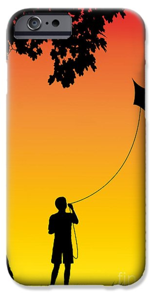 Youth Digital Art iPhone Cases - Childhood dreams 1 The Kite iPhone Case by John Edwards