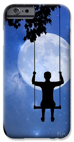 Youth Digital Art iPhone Cases - Childhood dreams 2 The Swing iPhone Case by John Edwards