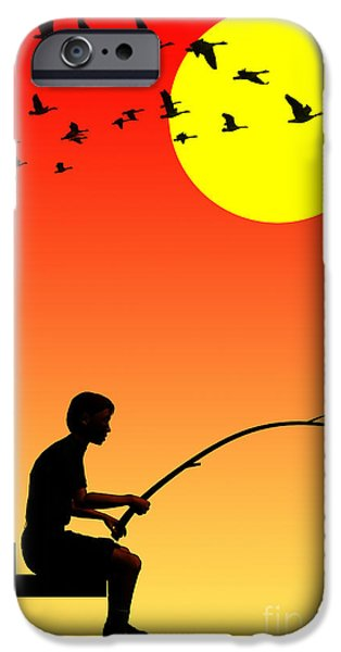 Youth Digital Art iPhone Cases - Childhood dreams 3 Fishing iPhone Case by John Edwards