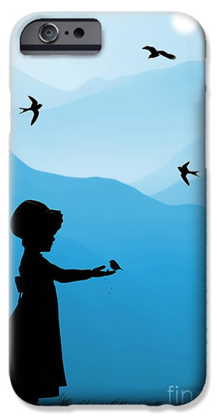 Swallows iPhone Cases - Childhood dreams 5 Feeding Time iPhone Case by John Edwards