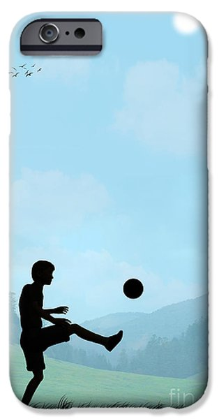 Youth Digital Art iPhone Cases - Childhood Dreams Football iPhone Case by John Edwards