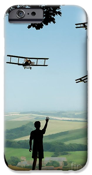 Wwi iPhone Cases - Childhood Dreams The Flypast iPhone Case by John Edwards