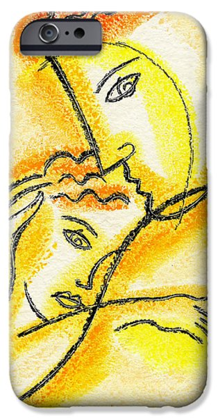 Women Together Paintings iPhone Cases - Childhood iPhone Case by Leon Zernitsky
