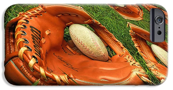Baseball Glove iPhone Cases - Childhood memories iPhone Case by Geraldine Scull