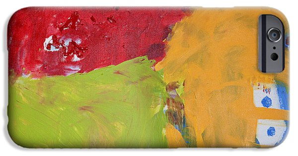 Red Abstract iPhone Cases - Childhood iPhone Case by Noa Yerushalmi