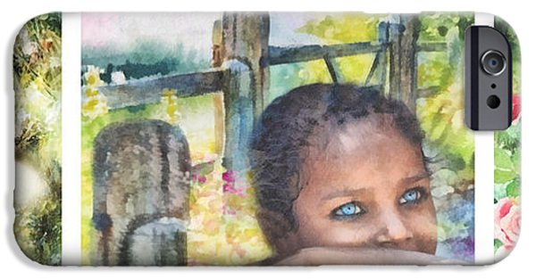 Comfort Paintings iPhone Cases - Childhood Triptic iPhone Case by Mo T