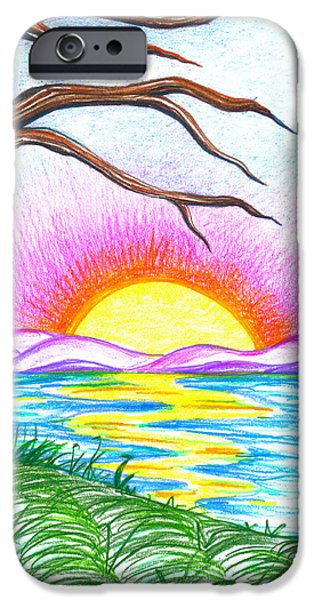 Vibrant Colors Drawings iPhone Cases - Childlike Wonder iPhone Case by Shawna  Rowe