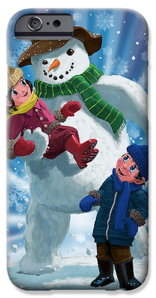 Manga iPhone Cases - Children and Snowman playing together iPhone Case by Martin Davey