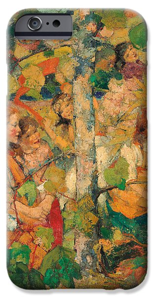Child iPhone Cases - Children Dancing Around a Tree iPhone Case by Edward Atkinson Hornel