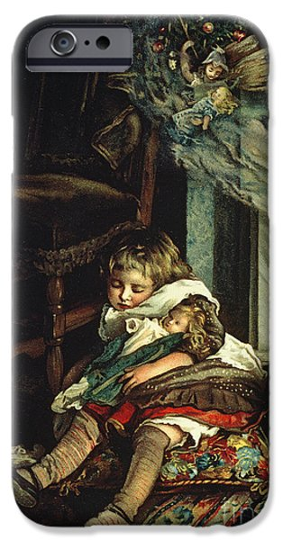 Christmas Eve iPhone Cases - Children Dreaming of Toys iPhone Case by Lizzie Mack