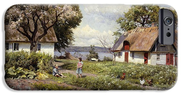 Young Paintings iPhone Cases - Children in a Farmyard iPhone Case by Peder Monsted