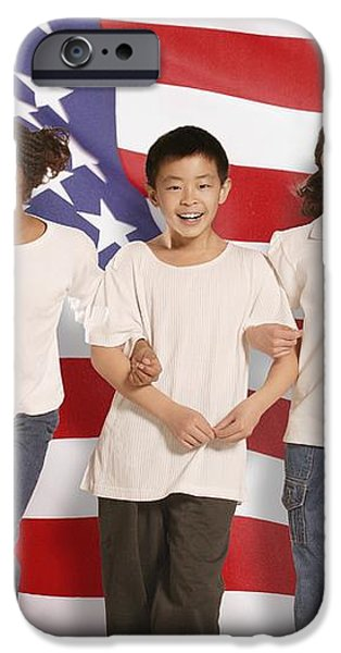 Children In Front Of American Flag iPhone Case by Don Hammond