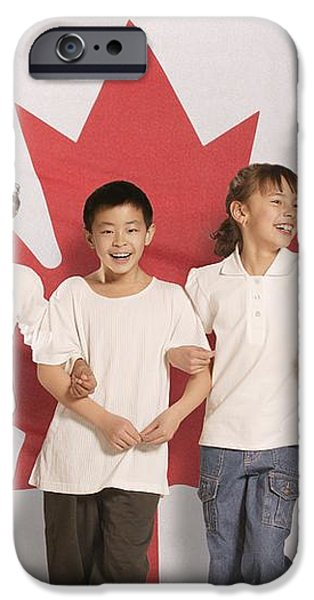 Children In Front Of Canadian Flag iPhone Case by Don Hammond