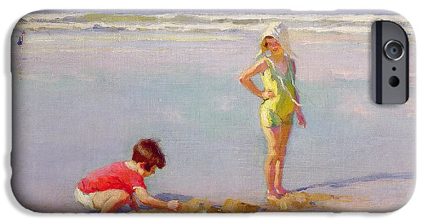 Paddle iPhone Cases - Children on the Beach iPhone Case by Charles-Garabed Atamian