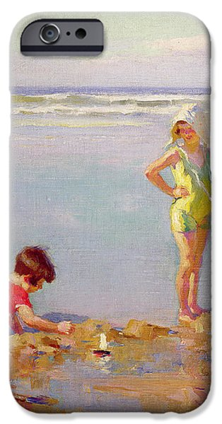 Children on the Beach iPhone Case by Charles-Garabed Atamian
