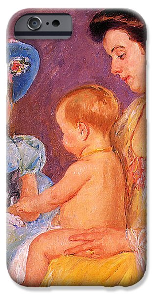 Children Playing With A Cat iPhone Case by Marry Cassatt