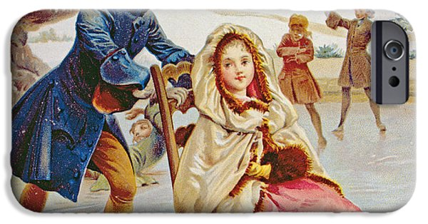 Winter Scene iPhone Cases - Children Skating iPhone Case by Maurice Leloir