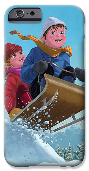 Kids Sports Art iPhone Cases - Children Snow Sleigh Ride iPhone Case by Martin Davey