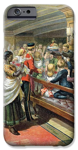 Party iPhone Cases - Childrens Christmas Dinner At Sea From The Graphic Christmas Number, 1889 Colour Litho iPhone Case by Godefroy Durand
