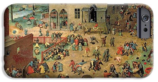 Enfants iPhone Cases - Childrens Games Kinderspiele, 1560 Oil On Panel iPhone Case by Pieter the Elder Bruegel