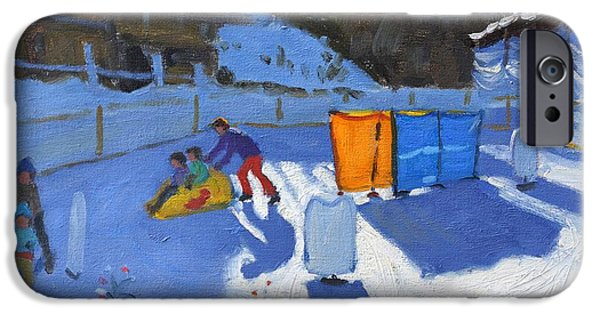 Winter Sports Paintings iPhone Cases - Childrens ice rink iPhone Case by Andrew Macara