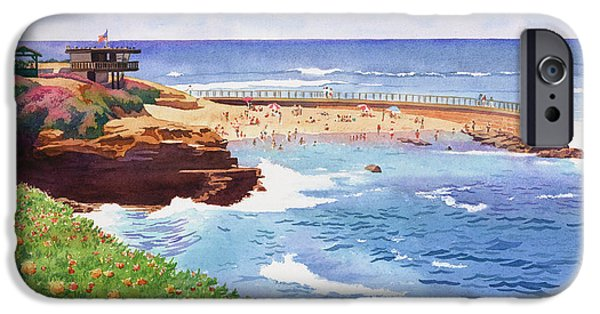 Children Paintings iPhone Cases - Childrens Pool in La Jolla iPhone Case by Mary Helmreich