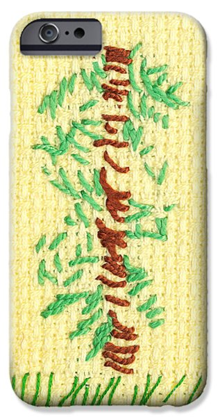 Plant Tapestries - Textiles iPhone Cases - Childs embroidery iPhone Case by Kerstin Ivarsson