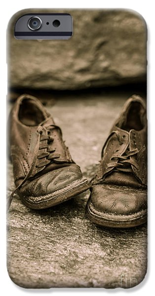 Child iPhone Cases - Childs old leather shoes iPhone Case by Edward Fielding