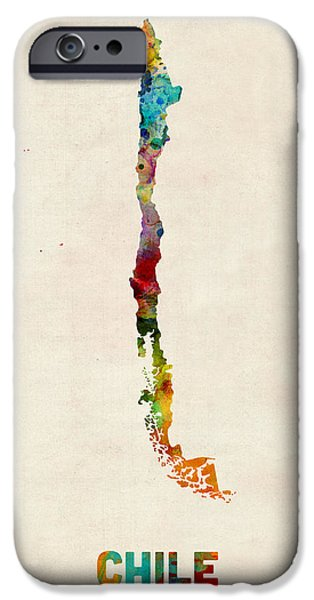 Maps - iPhone Cases - Chile Watercolor Map iPhone Case by Michael Tompsett