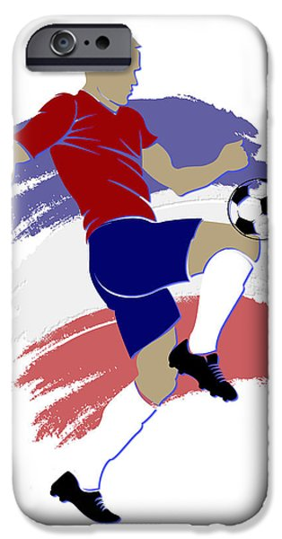 Chili iPhone Cases - Chili Soccer Player iPhone Case by Joe Hamilton