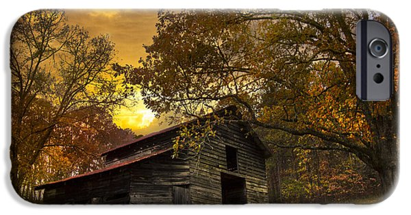 Tennessee Barn iPhone Cases - Chill of an Early Fall iPhone Case by Debra and Dave Vanderlaan