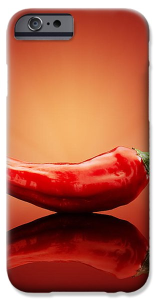 Chilli on red reflective background iPhone Case by Johan Swanepoel