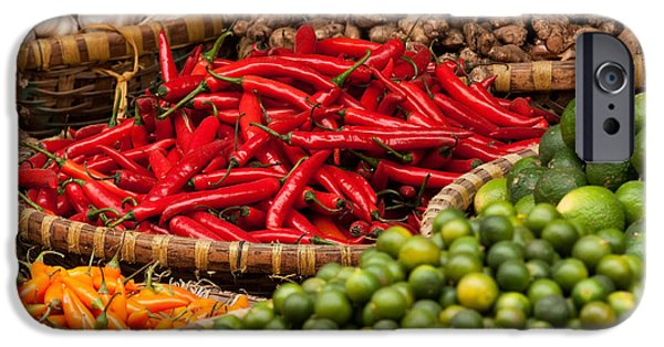 Basket iPhone Cases - Chillies 01 iPhone Case by Rick Piper Photography