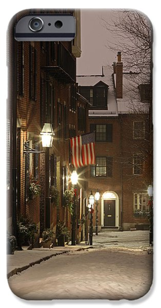 City. Boston iPhone Cases - Chilly Boston iPhone Case by Juergen Roth