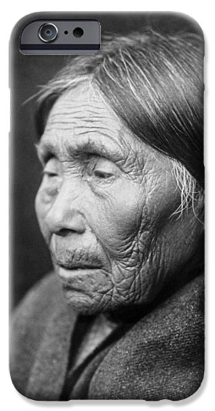 Gray Hair iPhone Cases - Chimakum Indian woman circa 1913 iPhone Case by Aged Pixel