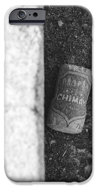CHIMAY WINE CORK in BLACK AND WHITE iPhone Case by ROB HANS